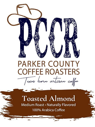 Label for Parker County Coffee Toasted Almond flavored coffee