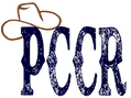 PCCR navy blue logo with brown cowboy hat tipped on the letter P
