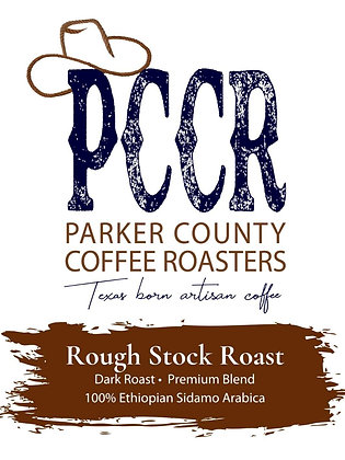 Label for Parker County Coffee Rough Stock Roast Ethiopian Sidamo coffee