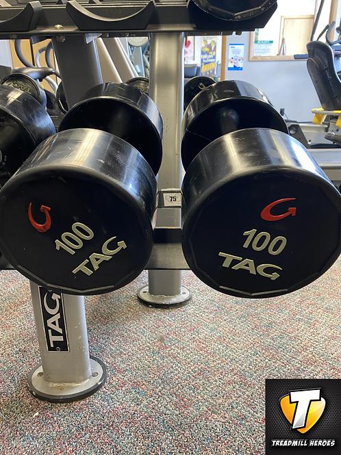 TAG Round Urethane 100lb Dumbbell Pair