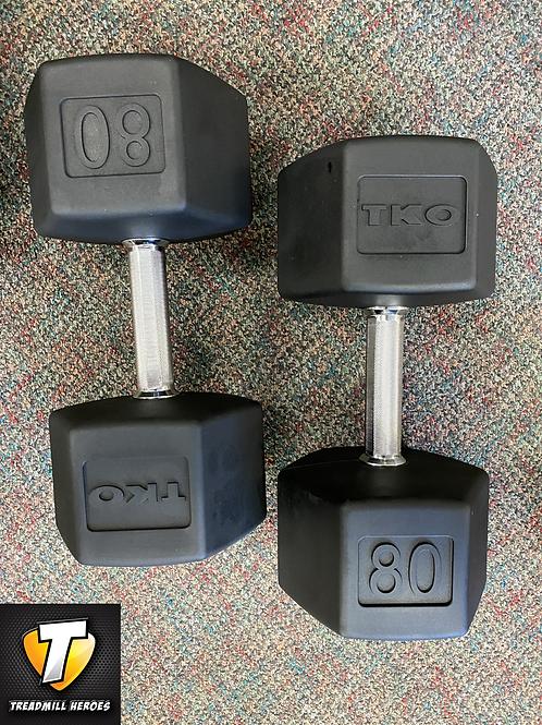 TKO Strength 80lb Rubber Hex Dumbbell Set