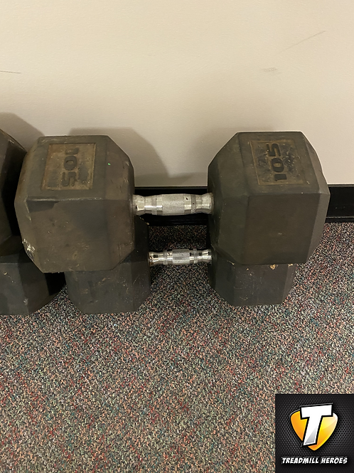 105lb Rubber Dumbbell Set