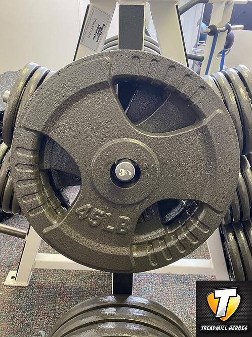 TAG FITNESS 45lb Tri-Grip Iron Olympic Plates
