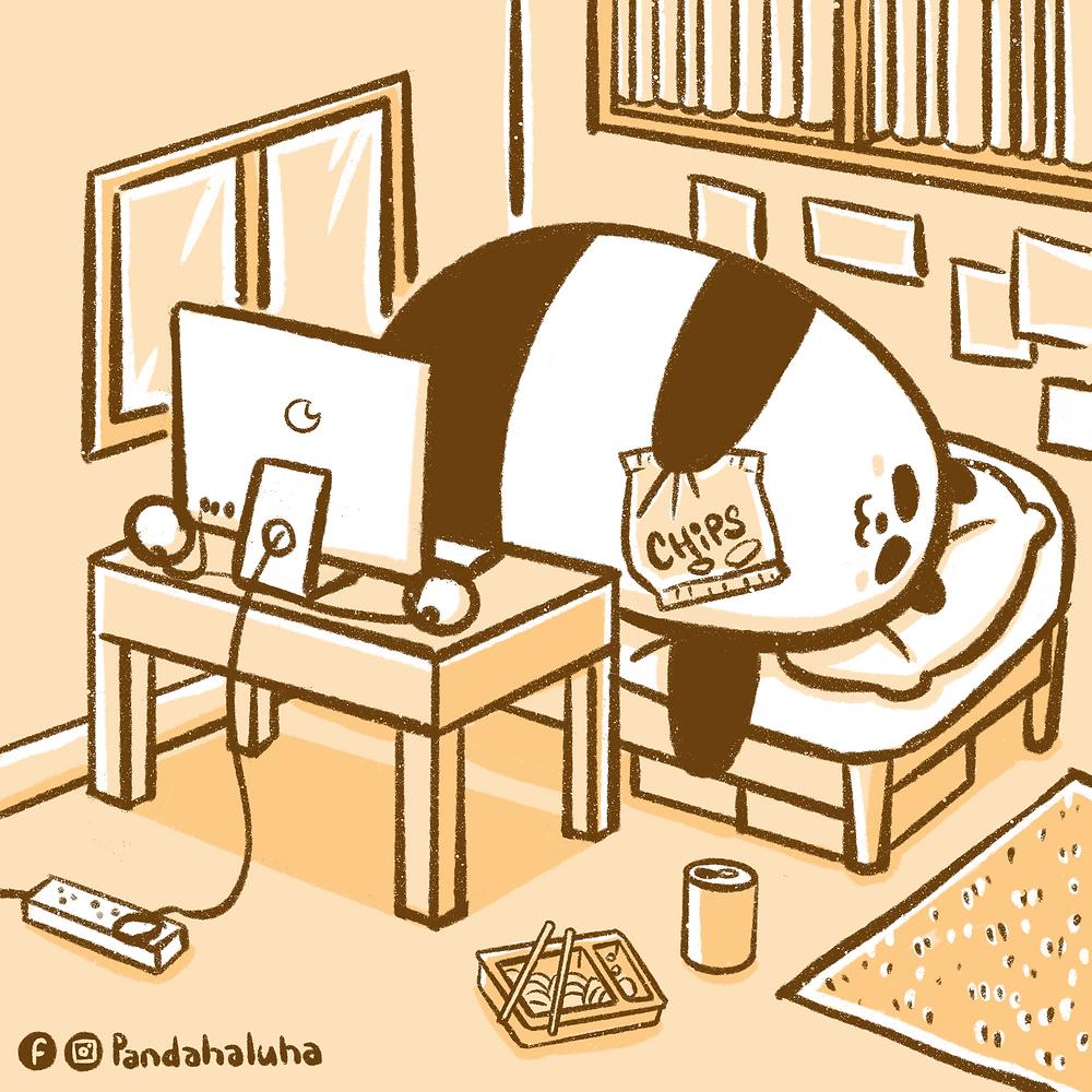 Pandahaluha - 在家工作中