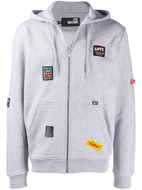 Love Moschino Patches Zip-Up Hoodie
