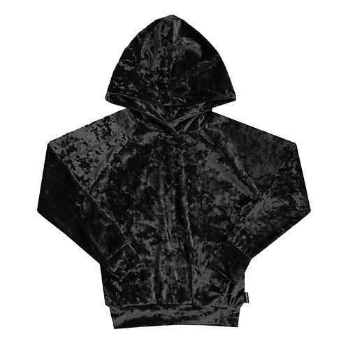 Black Velvet If You Please Crushed Velvet Hoodie