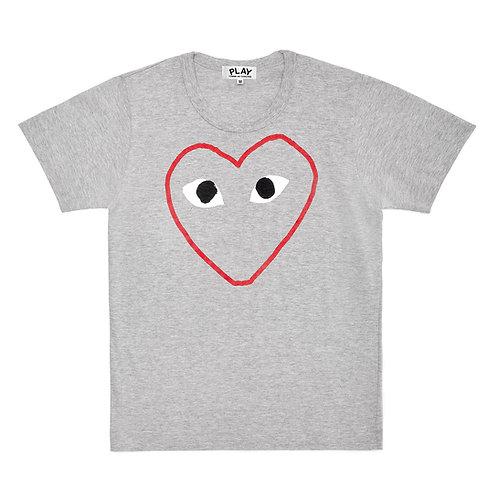 Play Comme des Garçons Red Heart Sketch T-Shirt (Grey)