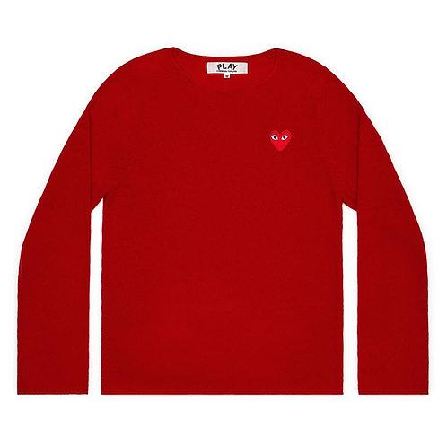 Play Comme des Garçons Red Heart Crew Neck Jumper (Red)