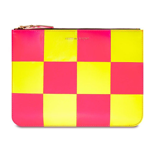 CDG Wallet Fluo Squares Yellow/Pink