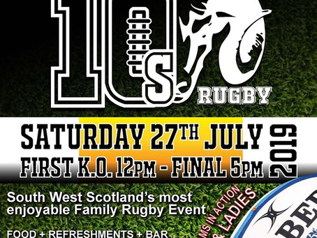 Moffat RFC Belhaven Men & Ladies 10s Tournament 27th July First Games Kick off at 12pm.