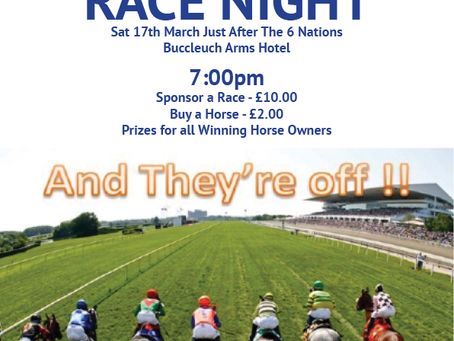 MOFFAT RFC RACE NIGHT Sat 17th March