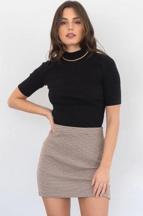 Plaid Brown Mini Skirt
