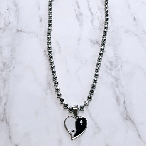 Yin & Yang Heart Necklace