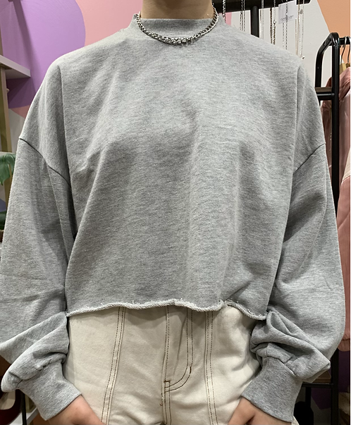 Basic Crop Mock Neck Sweater