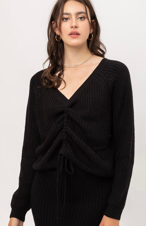 Black Front Drawstring Sweater