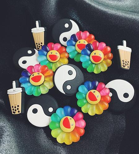Boba, Yin Yang, Takashi Murakami Flower & More Croc Charm Jibbitz