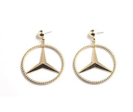 Mercedes Benz Gold Earrings