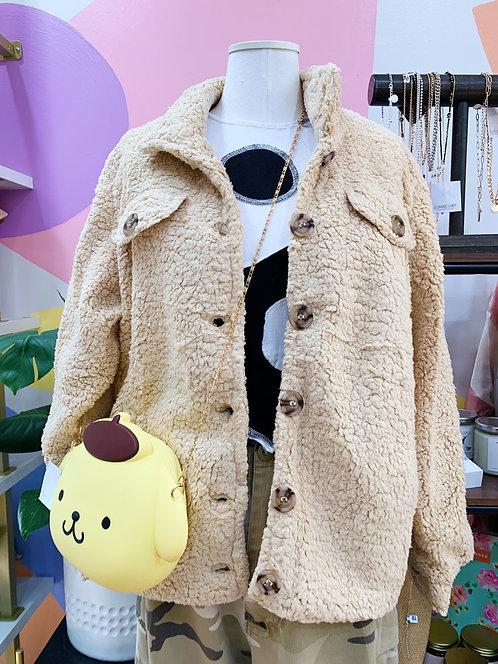 Teddy Bear Tan Oversize Button Up