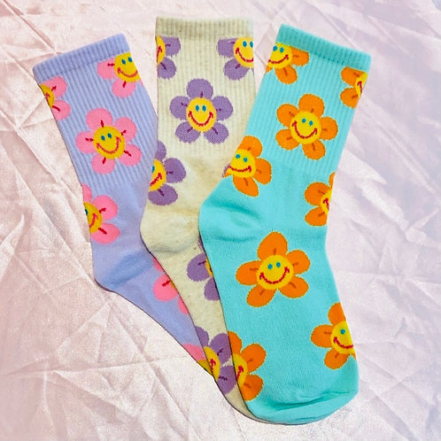Smiley Kiley Flower Crew Socks