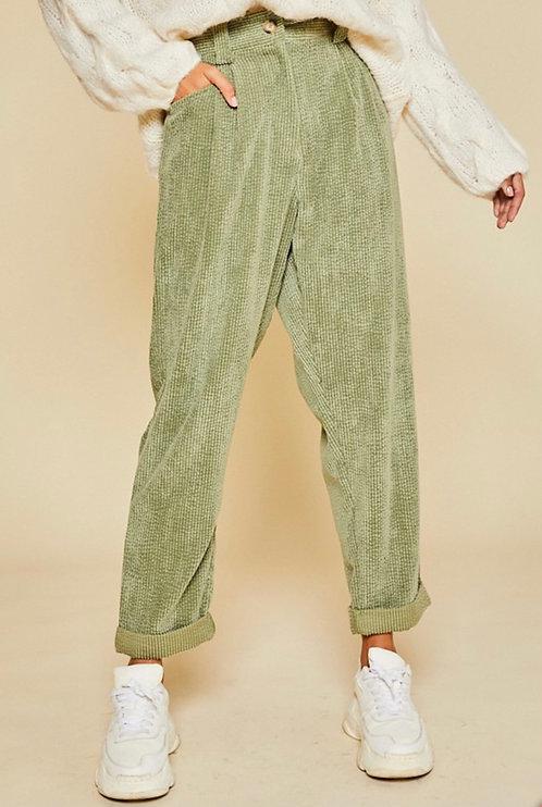 Olive High Waisted Corduroy Pants
