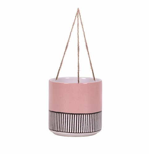 """Pink Abstract Line 6.5"""" Hanging Plant Pot"""