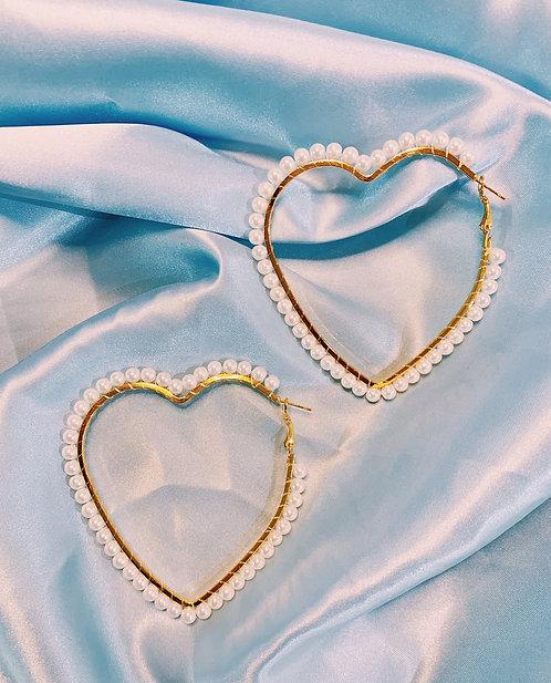 Pearl Hearts Hoop Earrings