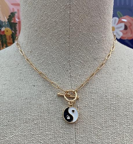 Yin Yang Hoop T Bar Necklace
