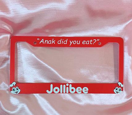 """Anak did you eat?"" Jollibee License Plate"