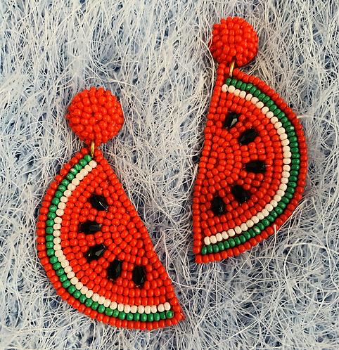 Watermelon Sunday Beaded Earrings