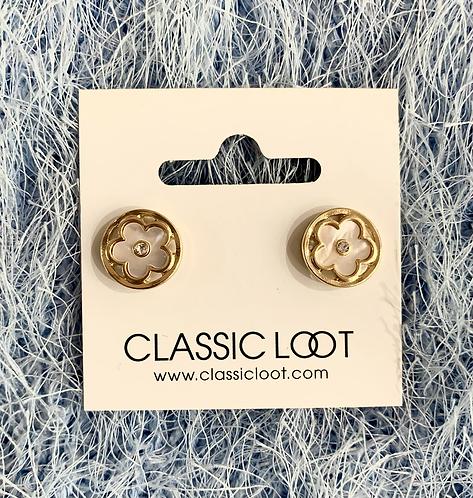 Pearl & Gold Blossom Stud Earrings