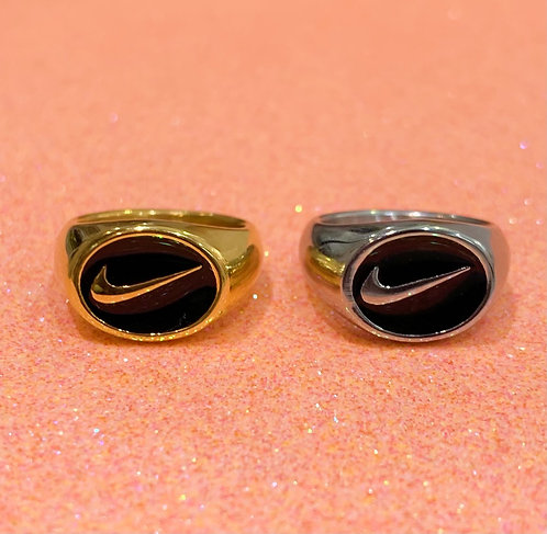Check over Stripes Oval Ring