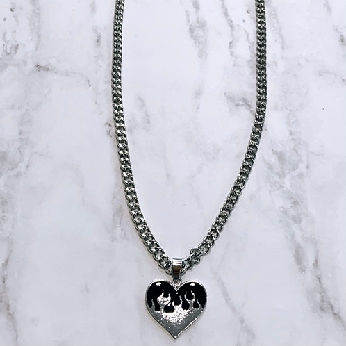 Flaming Heart Necklace