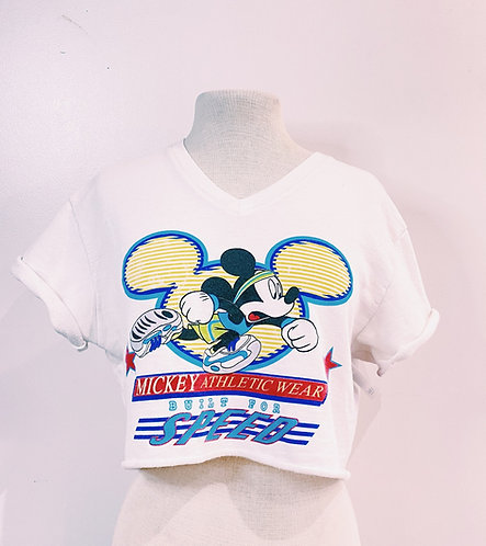 VTG Mickey Mouse Crop Tee, Sz M