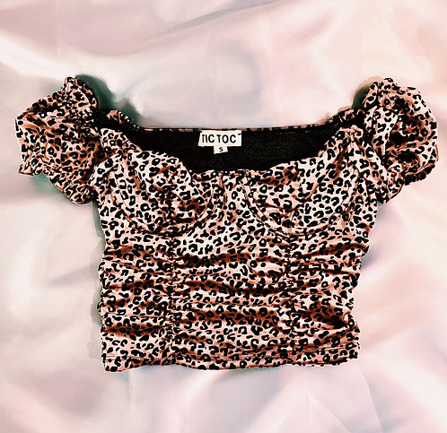 Cheetah Mauve  Crop Top