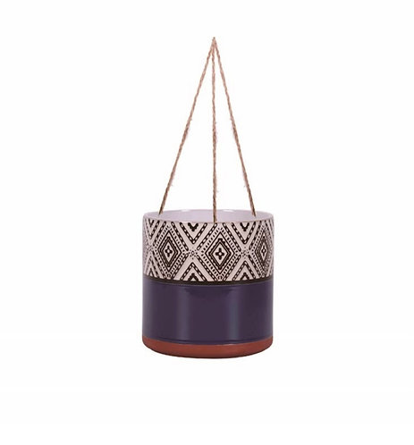 "Navy Boho Design 6.5"" Hanging Plant Pot"