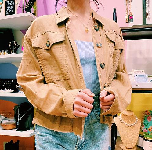Tan Denim Crop Jacket