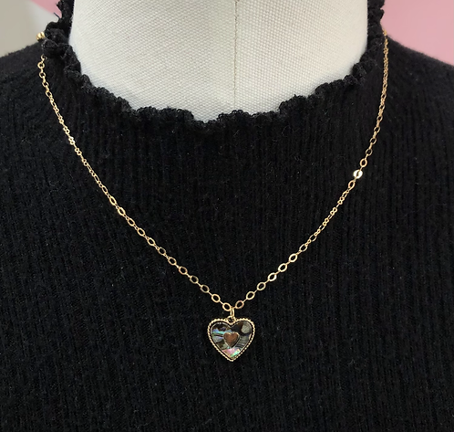Abalone Shell, Heart Necklace