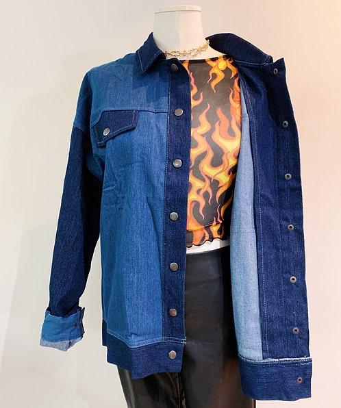 Denim Block Jean Button Up Jacket