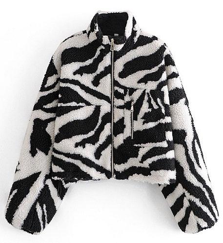 Zebra Print Teddy Bear Crop Jacket