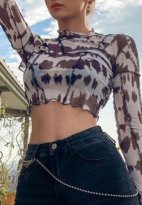 Abstract Cow Mesh Crop Top