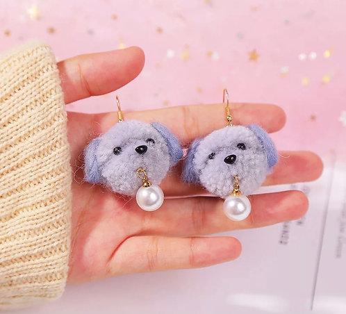 Puppy Pom Pom Earrings