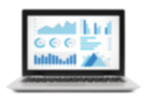 Graphs and charts elements on laptop com