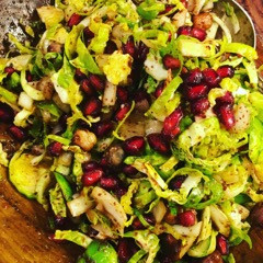 Brussels Sprout & Pomegranate Salad with Toasted Hazelnuts & Sumac Picked Onions