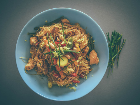 Rainbow Veggie Singapore Noodles