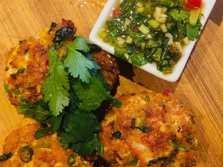 Thai Fish & Tofu Cakes with Green Veggie Rice & Spicy Dipping Sauce
