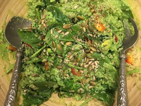 Green Quinoa Salad with Avocado, Coriander & Lime Sauce