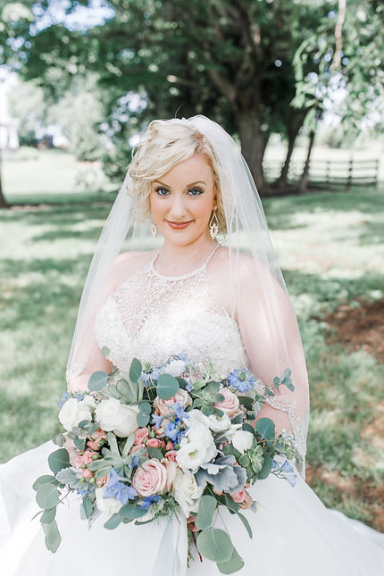 Hannah Shetler Wedding Bouquet and Dress at DuCar Farm in Chambersburg, PA