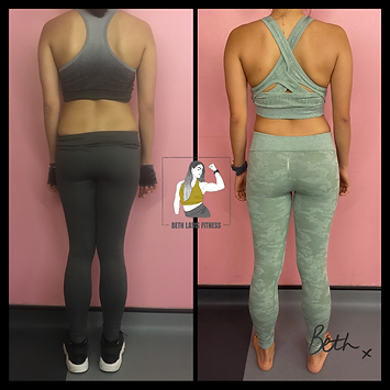 Personal Training client of Beth Lavis Fitness, Anh, fat loss body transformation.