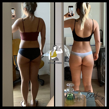 Personal Training client of Beth Lavis Fitness, Mabel, fat loss body transformation.