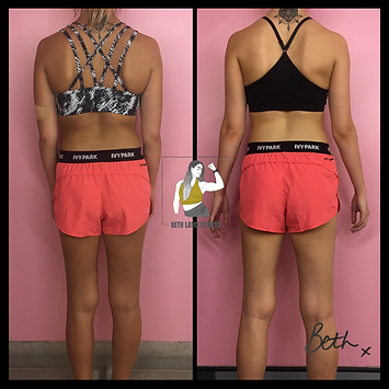 Personal Training client of Beth Lavis Fitness, Sophie, fat loss body transformation.
